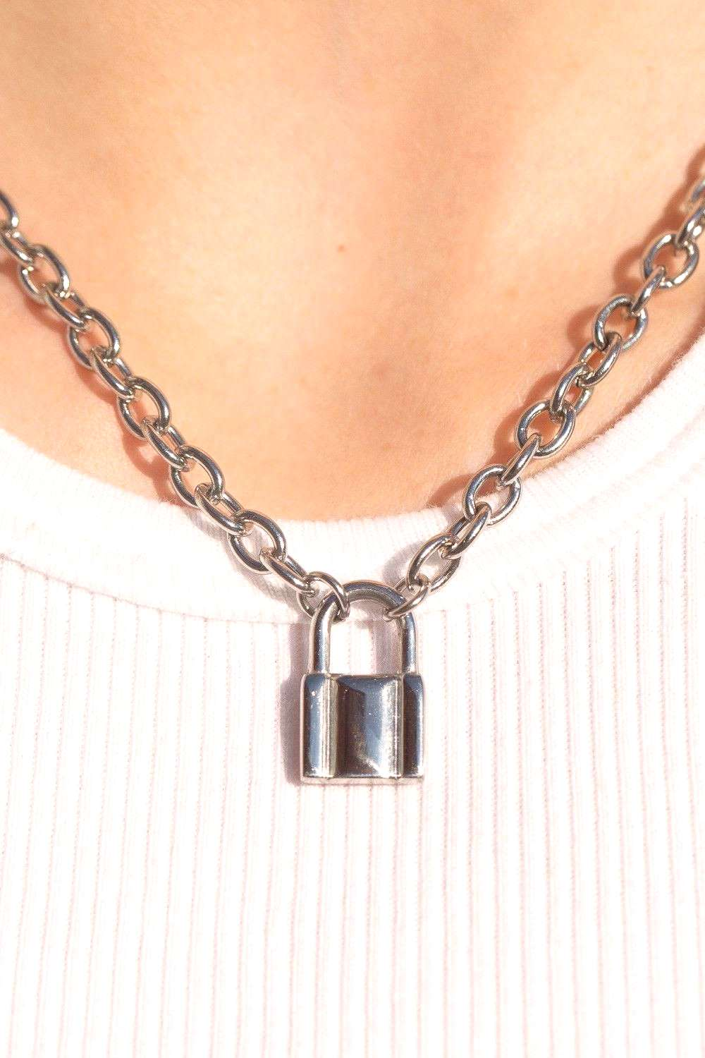 Silver Lock Chain Necklace - Necklaces - Jewelry - Accessories