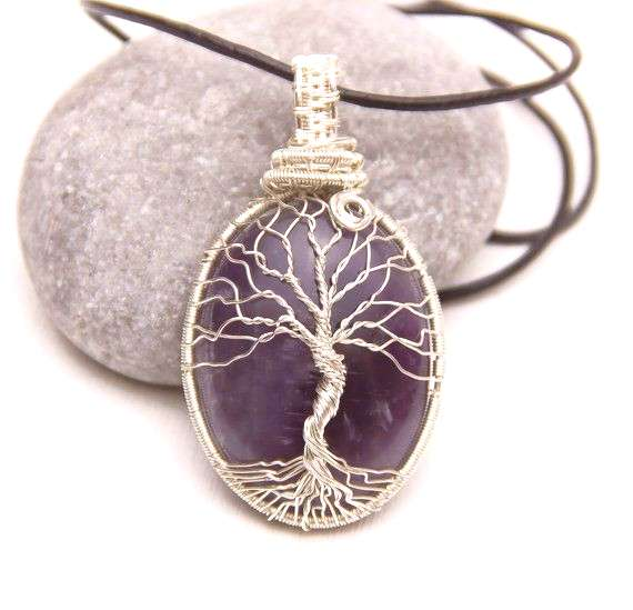 Silver Tree-Of-Life Necklace Amethyst stone Necklace Tree of life Pendant. Family Tree necklace. Pr