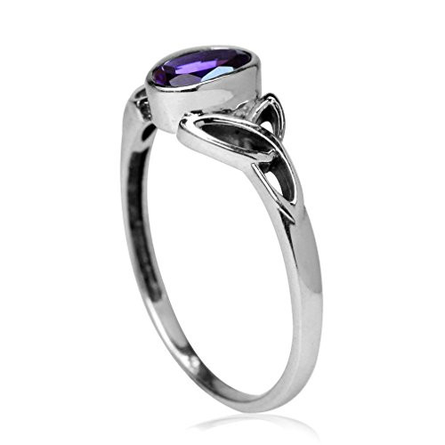 Silvershake Natural African Amethyst White Gold Plated 925