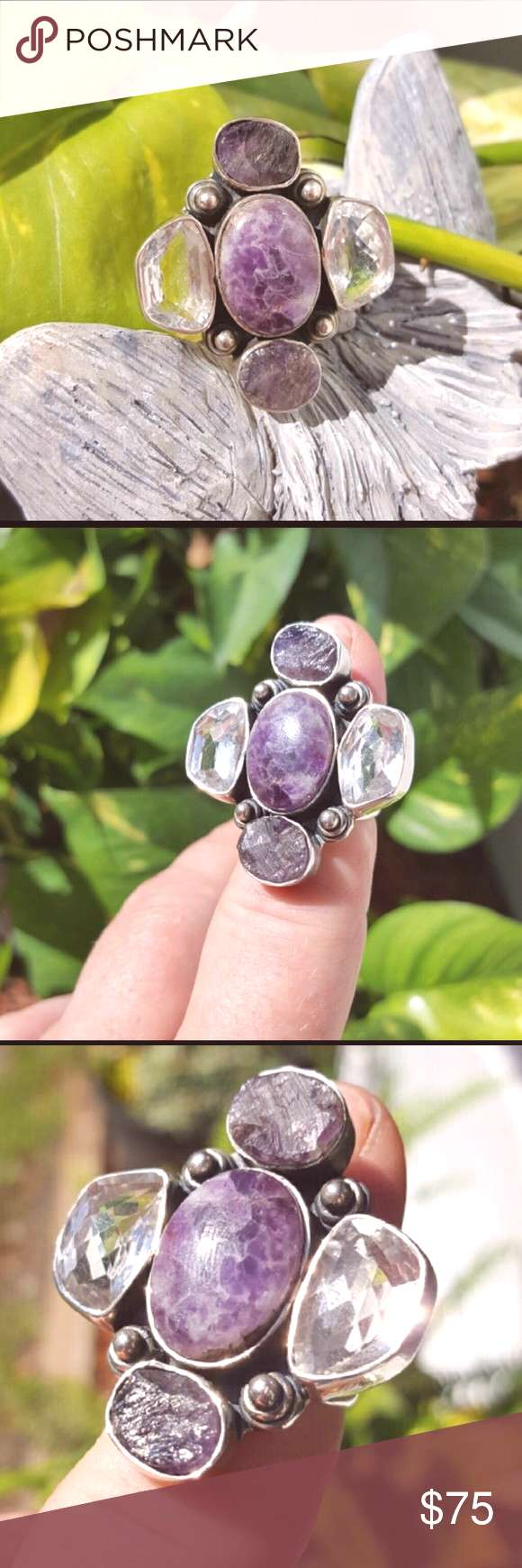 Spotted while shopping on Poshmark: Beautiful statement Amethyst silver 925 ring.!