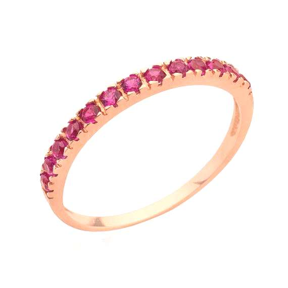 Stacking ring 14k Rose Gold Filled half eternity ruby ring gemstone mothers rings may birthstone st