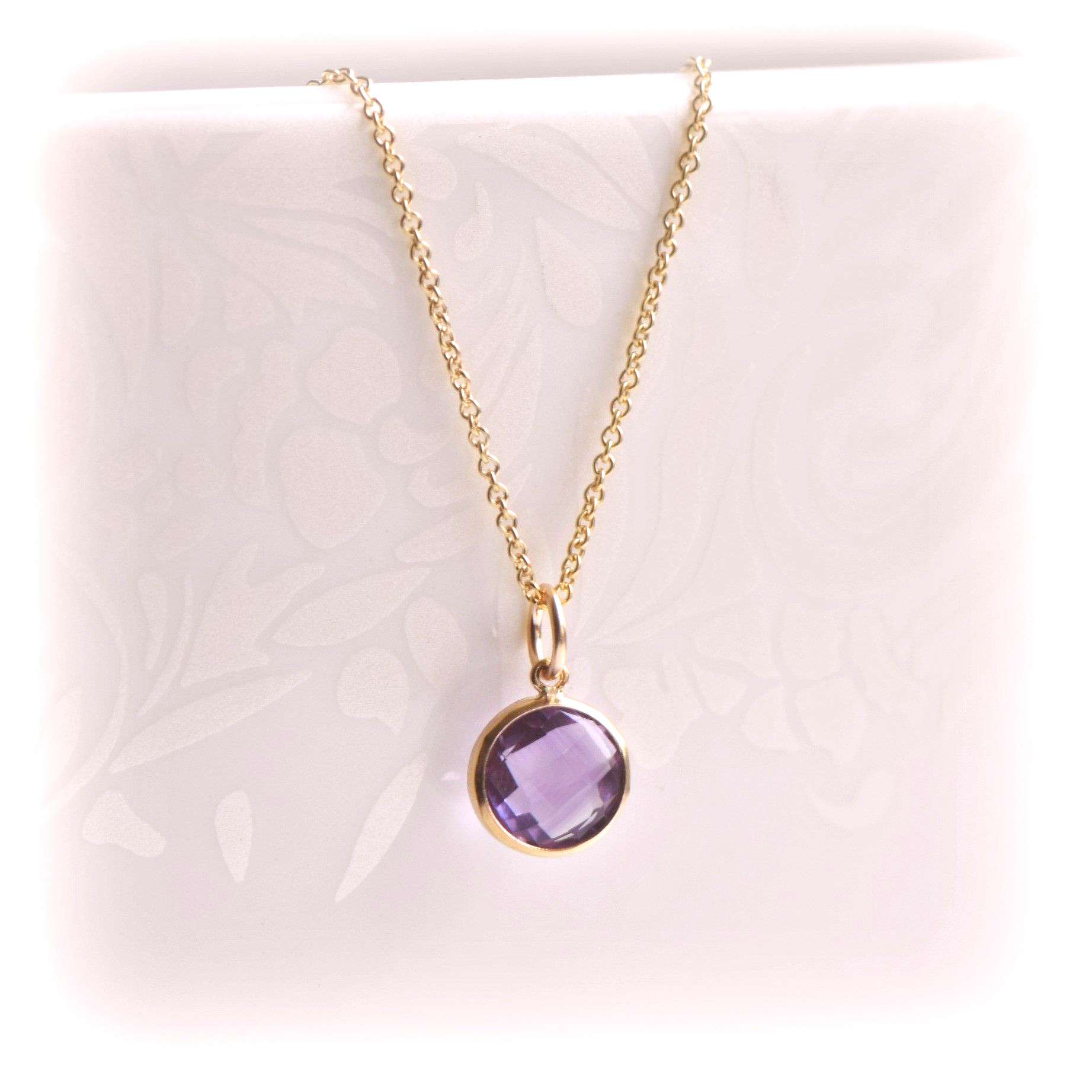 Tiny Amethyst Necklace, Purple Amethyst Pendant in Gold, Birthstone Gift For Her, Amethyst Jewelry