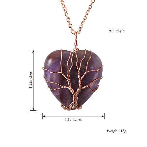 Top Plaza Natural Amethyst Healing Crystals Necklace Tree Of