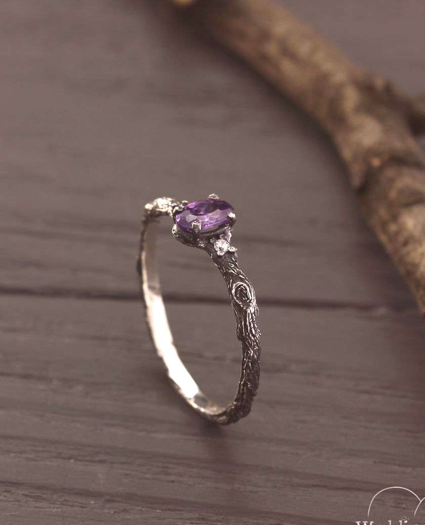 Tree small engagement silver ring with amethyst by WeddingRingsStore, Tiny silver engagement ring,