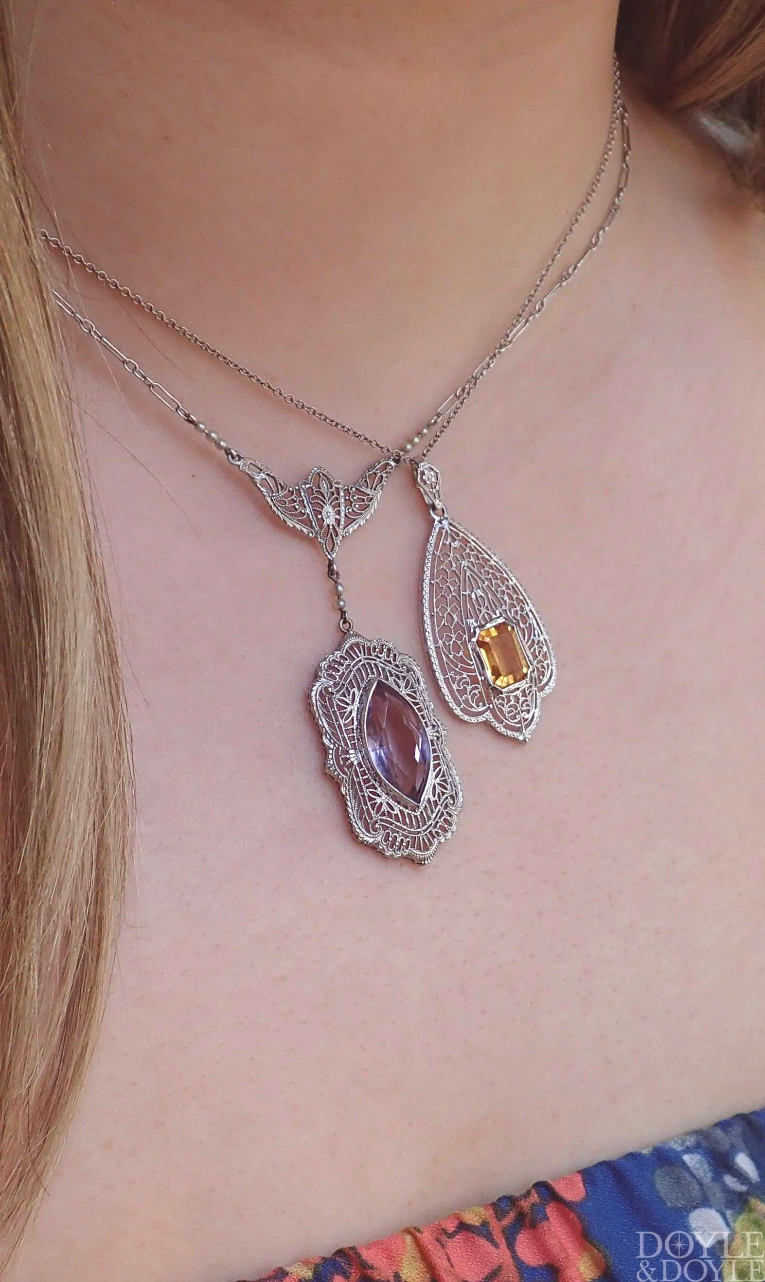 Two eye-catching, detailed filigree necklaces! A stunning vintage citrine necklace and an antique a