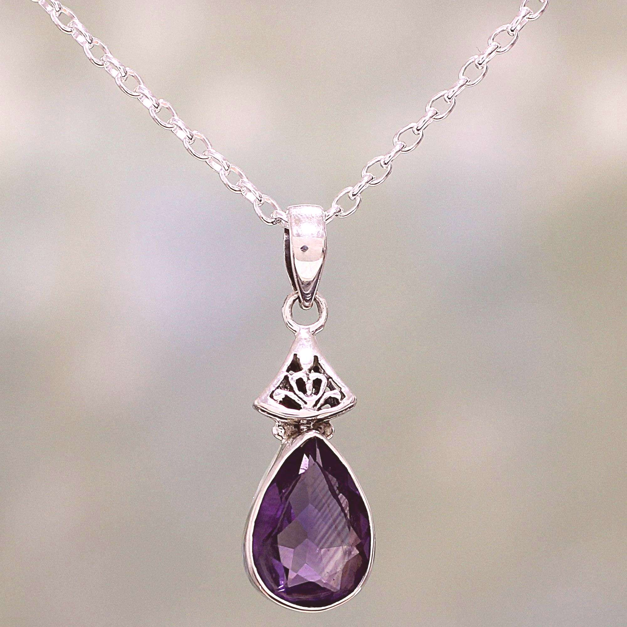 UNICEF Market | Faceted Amethyst and Sterling Silver Necklace from India - Lavender Drop