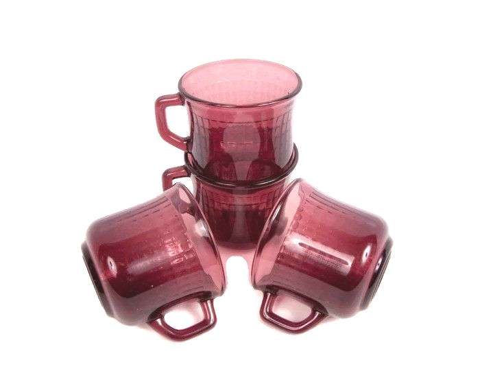 Vintage Amethyst Glass Mugs Fortecrisa Grid Textured Purple Cups Made in Mexico Set of 4 Wedding Am