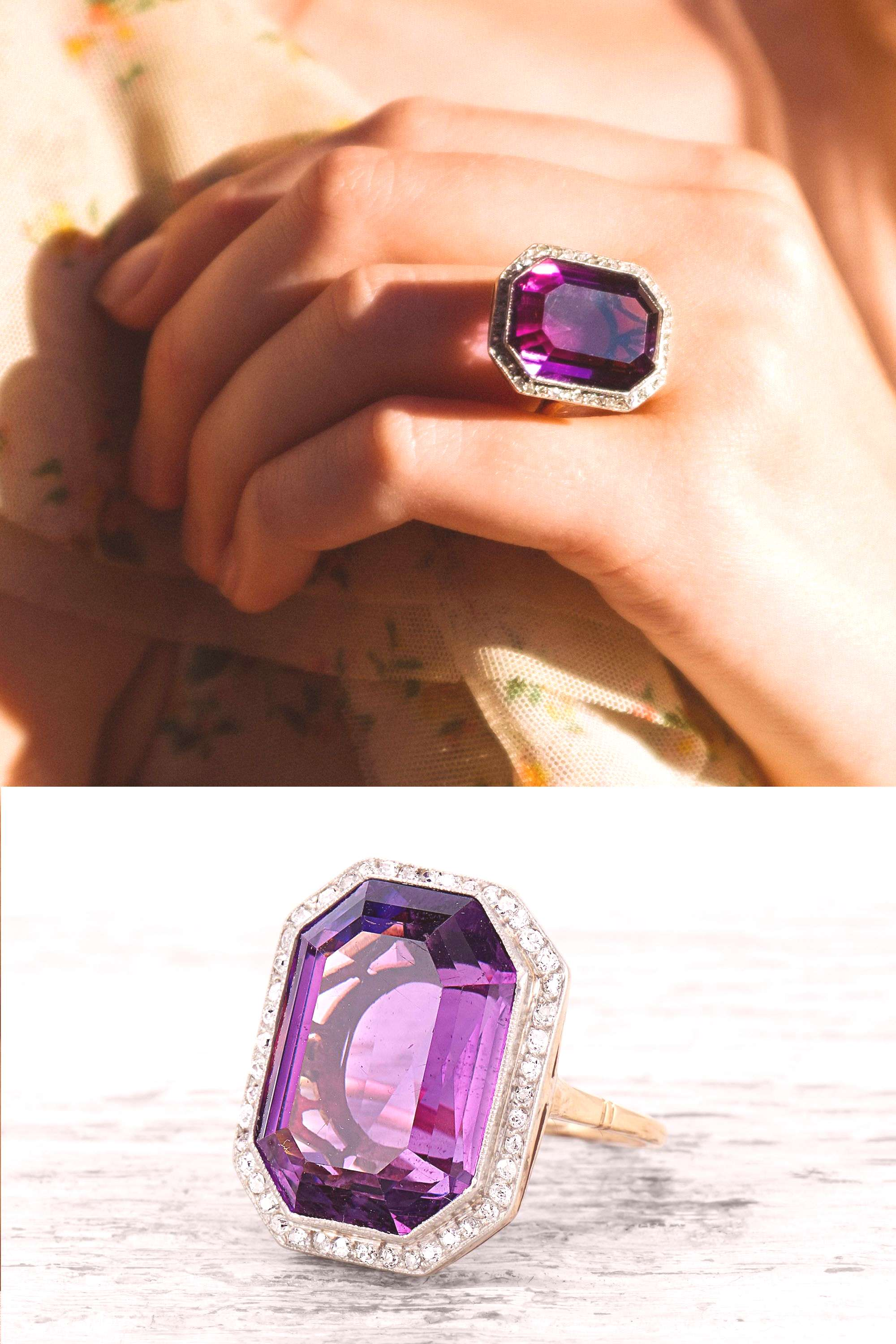 Vintage Amethyst Ring An Edwardian cocktail ring set with a rectangular-cut amethyst measuring 19.0