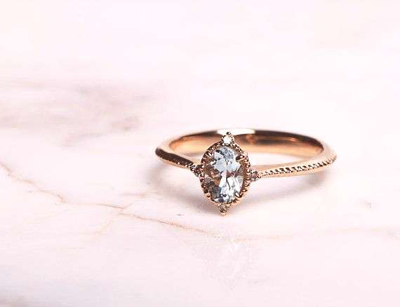 Vintage Aquamarine Engagement Ring with 1.3ct Aquamarine, White Diamond, Rose Gold, Yellow Go... Vi