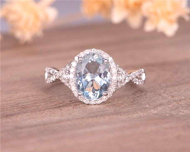White Gold Aquamarine Engagement Ring Bridal Ring Halo Diamond Infinity Half Eternity March Birthst