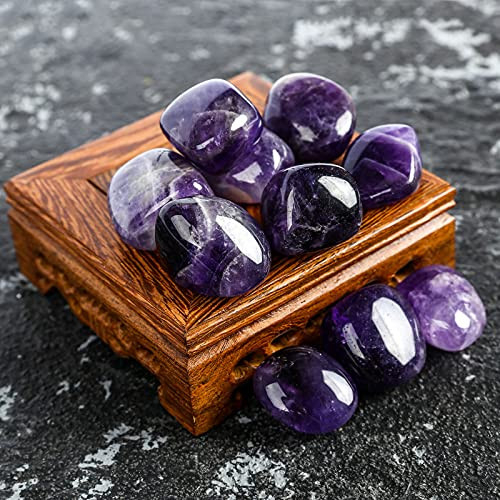 ZenQ 1/2 lb Tumbled Amethyst Stones for Wicca, Reiki, and